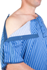 Hospital gown with easy access - both shoulders have snap lock fasteners which open all the way, providing you and hospital staff easy access without the need to remove your hospital gown.