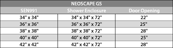Neoscape Sen991 Neoscape Gs Completely Frameless Neo Angle Shower Enclosure With Shelves