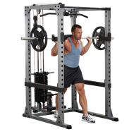 (BUNDLED PACKAGE) Body Solid Pro Power Rack & Lat attachment w/200 pound weight stack