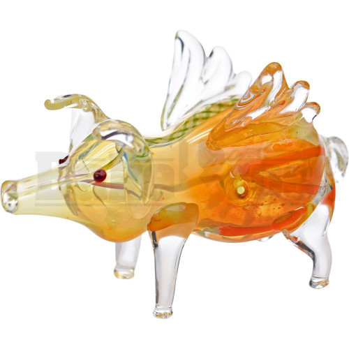 """ANIMAL HAND PIPE FLYING PIG 5"""" ASSORTED COLORS"""