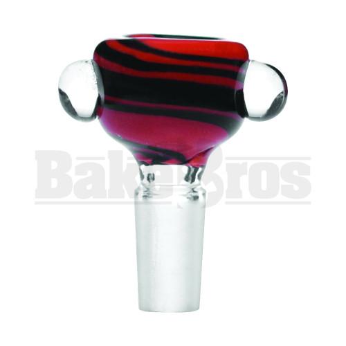 BOWL 2 GLASS PINCH DOTS COLOR SWIRLS ORANGE BLACK 14MM