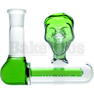 ASHCATCHER INLINE PERC SKULL FACE DESIGN 45* ANGLED JOINT GREEN MALE 14MM