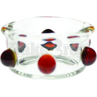 "WAX VAPOR CONTAINER DISH CLEAR GLASS AMBER DOTS Pack of 1 2"" DIAMETER"