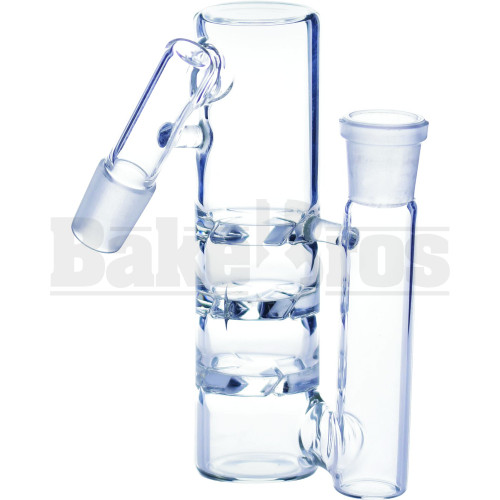 "ASHCATCHER 1.5"" DIAM 3X TURBINE DISK PERC L CONFIG 45* ANGLE JOINT CLEAR MALE 18MM"