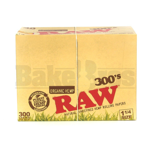 RAW 300's ROLLING PAPERS ORGANIC HEMP 1 1/4 SIZE 300 LEAVES UNFLAVORED Pack of 40