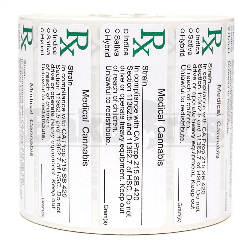 """MEDICAL LABELS ROLL 3"""" x 1"""" RX MEDICAL CANNABIS W/ STRAIN CALIFORNIA Pack of 1 1000 Per Pack"""