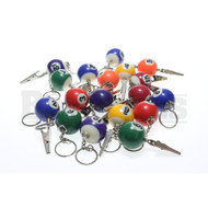 BILLIARD BALL ROACH CLIP W/ KEYCHAIN ASSORTED Pack of 1 1""