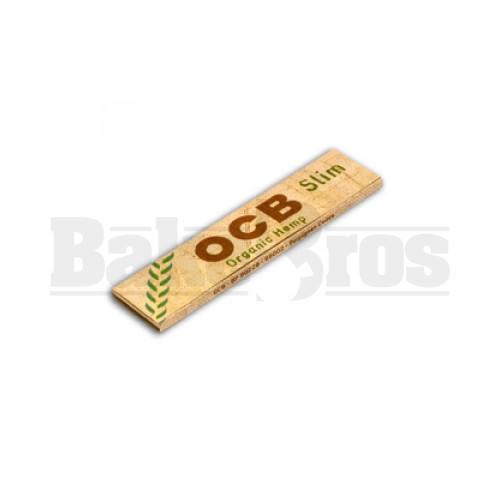 OCB ORGANIC HEMP UNBLEACHED ROLLING PAPERS KINGSIZE SLIM 32 LEAVES UNFLAVORED Pack of 24