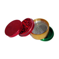 "GRINDER 2.5"" 4 PIECE W/ POLLEN COLLECTOR #GR12 RASTA Pack of 1"