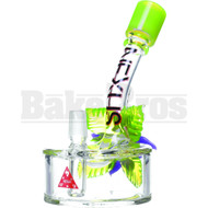 "NEXUS GLASS WP FIXED DOWNSTEM PERC DISK W/ GLASS FLOWER 6"" SLIME GREEN MALE 14MM"