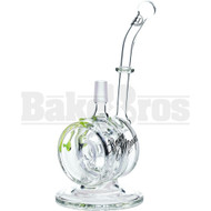 "SMOKIN MIRRORZ WP CANISTER 3 HOLE RING PERC WITH DRIPS 8"" SLIME GREEN MALE 14MM"