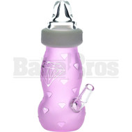 "HIGH TECH WP BABY BOTTLE DIAMOND ETCHINGS 6"" PINK MALE 14MM"