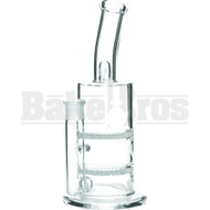 "WP CANISTER 2X HONEYCOMB DISK PERC W/ SPLASHGUARD BENT NECK 11"" CLEAR FEMALE 18MM"