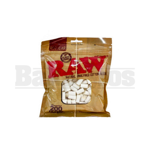 RAW CIGARETTE FILTER BAGS 8MM 200 PER BAG COTTON Pack of 1 REGULAR