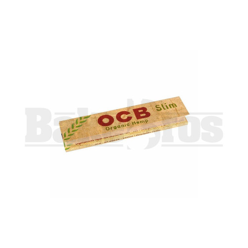 OCB ORGANIC HEMP UNBLEACHED PAPERS SLIM KING SIZE WITH TIPS 32 LEAVES UNFLAVORED Pack of 6