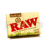 RAW ROLLING PAPERS ORGANIC HEMP 1 1/2 SIZE 33 LEAVES UNFLAVORED Pack of 6