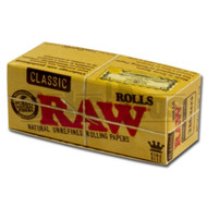 RAW ROLLS ROLLING PAPERS CLASSIC KING SIZE 3 METERS UNFLAVORED Pack of 6