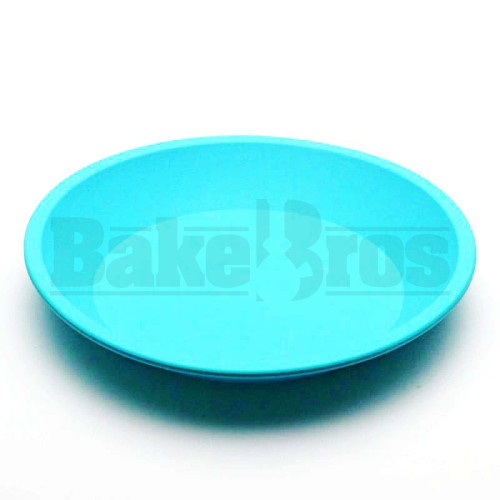 "SILICONE TRAY ROUND NON STICK OIL SLICK TRAY 8"" SKY BLUE 8"" DIAMETER"