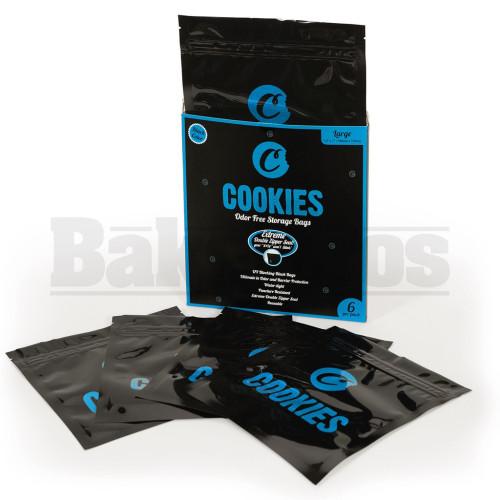 """COOKIES STORAGE BAGS LARGE 7.5"""" X 7"""" ODOR FREE BLACK Pack of 1 6 Per Pack"""