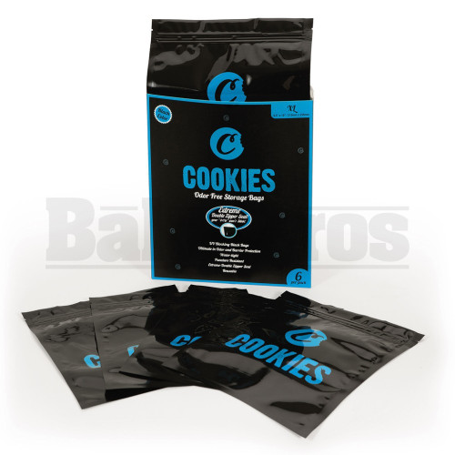 "COOKIES STORAGE BAGS EXTRA LARGE 8.5"" X 10"" ODOR FREE BLACK Pack of 1 6 Per Pack"
