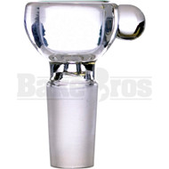 BOWL HALF PIPE THICK WALL W/ BULB HANDLE CLEAR 14MM
