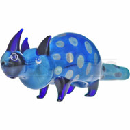 "ANIMAL HAND PIPE GLASS RHINO W/ SPOTS 6"" BLUE"