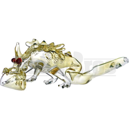 """ANIMAL HAND PIPE GLASS DRAGON CRAWLING FACE DOWN 7"""" ASSORTED"""