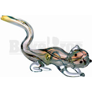 "ANIMAL HAND PIPE GLASS LAYING DOWN CAT 7"" ASSORTED"