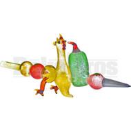 "GLASS HAND PIPE SHISH KABOB CHICKEN PEPPER TOMATO MUSHROOM FRIT 16"" RASTA"