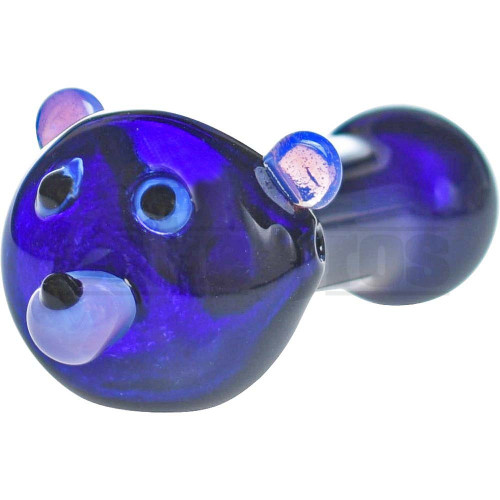 "GLASS SPOON HAND PIPE HONEY BEAR FACE SCULPTOR 5"" BLUE PINK SLIME PURPLE RAIN"
