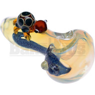 "GLASS SPOON HAND PIPE ANIMAL ART SCULPTORS W/ LINED OR 4"" FUMED"
