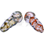 "GLASS SPOON HAND PIPE UNBREAKABLE W/ FRIT BITS 3.5"" ASSORTED"