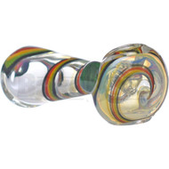 "GLASS SPOON HAND PIPE TRIPLE SWIRL 4.5"" RASTA FUMED"