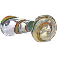 """GLASS SPOON HAND PIPE TRIPLE SWIRL 4.5"""" RASTA FUMED"""