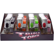 """POCKET SIZE 3X FLAME TORCH TRANSLUCENT 20 PER BOXS ASSORTED COLORS Pack of 1 3"""""""