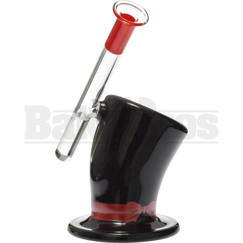 "SIDE CAR RIG BOW TIE RIBBON TOP HAT DESIGN W/ INLINE PERC 7"" BLACK RED FEMALE 14MM"