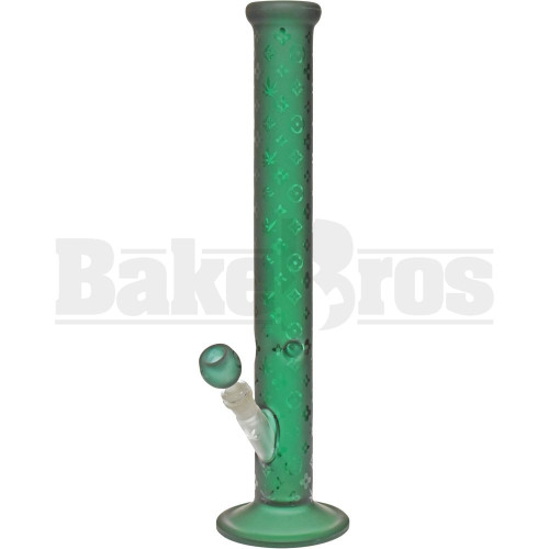 "STRAIGHT TUBE W/ PARIS PURSE BRAND PATTERN CANNABIS LEAF DESIGN 18"" EMERALD FEMALE 18MM"