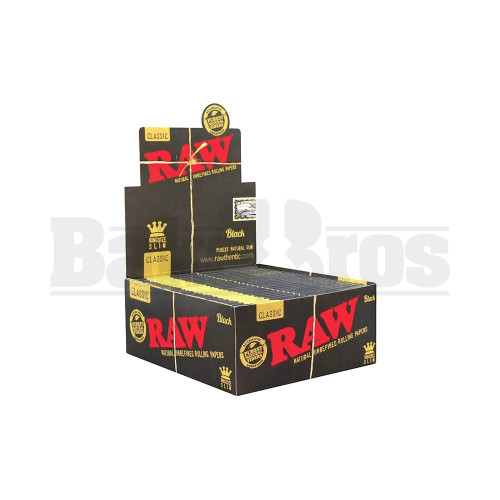 RAW BLACK CLASSIC ROLLING PAPERS KING SIZE SLIM 32 LEAVES UNFLAVORED Pack of 50