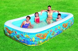 Kid's Rectangular Inflatable Sea Life Paddling Play Pool