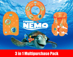 Finding Nemo Swimming Pool Kids Inflatable Swim Jacket, Swim Ring and Kick board Multi Pack