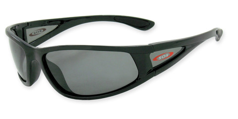#3701 Shiny black frame with side lens with TAC polarized smoke 1mm lenses for bright reflective light conditions
