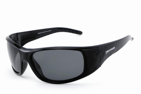 #FL7351-1 Shiny black frame and smoke TAC polarized lens