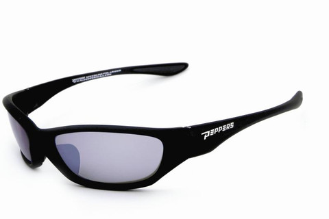 MP152-1 Loco sunglasses - rubberized matt black frame with TAC polarized smoke flash mirror lens