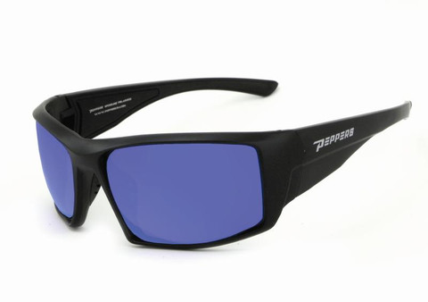 Quiet Storm sunglasses matte black with brown polarized lens and ice blue flash mirror