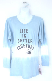 Life is better together v neck long sleeve maternity and new mommy tee
