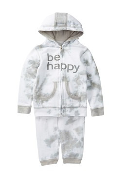 be happy boys and unisex baby, toddler and big kids grey white tie dye sweat suit
