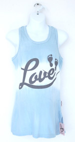 Esk Blue dip die cotton lycra maternity tank with LOVE and BABY FEET print