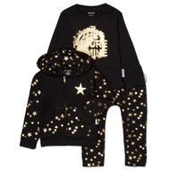 The Future is Mine | toddler and kid 3 piece set, hooded sweatsuit with l/s tee | black, metallic gold foil