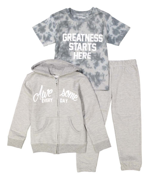 Greatness starts here, kid's sweat suit and tee in grey and white, front view