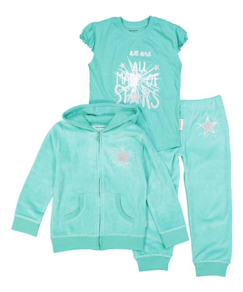 We are all made of starts aqua green and silver girl's velour hooded sweat suit and tee, front view
